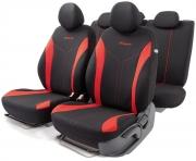 Автомобильные чехлы FLEX, полиэстер, черный\красный