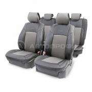 Накидка на сиденье каркасная экокожа+перфорированная экокожа AIRBAG 11пр черный/т.серый