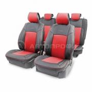 Накидка на сиденье каркасная экокожа+перфорированная экокожа AIRBAG 11пр черный/красный