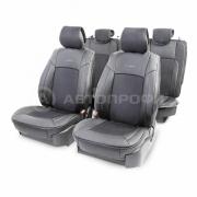 Накидка на сиденье каркасная экокожа+алькантара AIRBAG 11пр черный