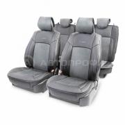 Накидка на сиденье каркасная экокожа+алькантара AIRBAG 11пр черный\т.серый