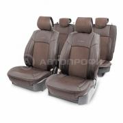 Накидка на сиденье каркасная экокожа+алькантара AIRBAG 11пр коричневый
