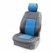 Накидка на сиденье каркасная экокожа+перфорированная экокожа AIRBAG 3пр черный/синий