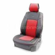 Накидка на сиденье каркасная экокожа+перфорированная экокожа AIRBAG 3пр черный/красный