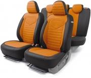 Авточехлы классические  LINEN, лён, черный\оранжевый