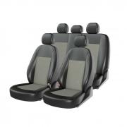 Авточехлы классические, экокожа + жаккард ATOM JACQUARD 3D черный/серый/серый