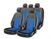Авточехлы классические, экокожа + жаккартд ATOM JACQUARD черный\синий\синий