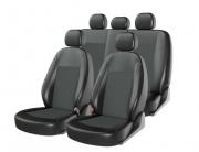 Авточехлы классические, экокожа + жаккард ATOM JACQUARD черный/т.серый/серый