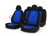 Авточехлы классические, алькантара, «COLOMBO» синий/черный/синий