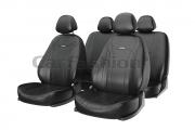 Авточехлы классические, экокожа  «TILTAN» черный/черный/т.серый