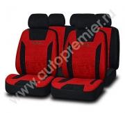 Авточехлы PRESIDENT велюр премиум класса чёрный/красный