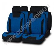 Авточехлы PRESIDENT велюр премиум класса чёрный/синий