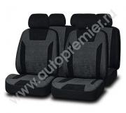 Авточехлы PRESIDENT велюр премиум класса чёрный/т. серый