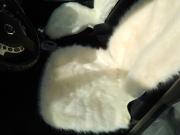 Накидка из натуральной овечьей «CLASSIC» - бежеый (длинный мех)