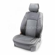 Накидка на сиденье каркасная экокожа+алькантара AIRBAG 3пр черный/т.серый